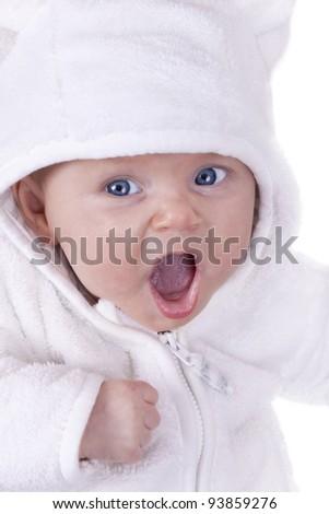 studio-shot of a yawning baby girl , isolated on white. - stock photo