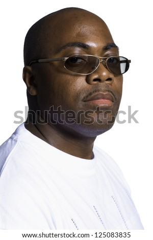 Studio shot of a young african american with sunglasses