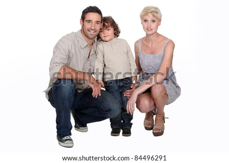 Studio shot of a young family