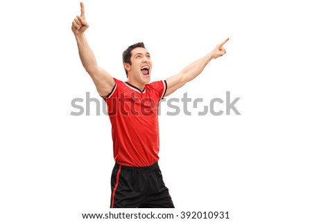 Studio shot of a young overjoyed sportsman gesturing happiness isolated on white background