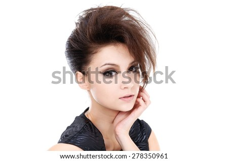 Studio shot of a young woman - stock photo