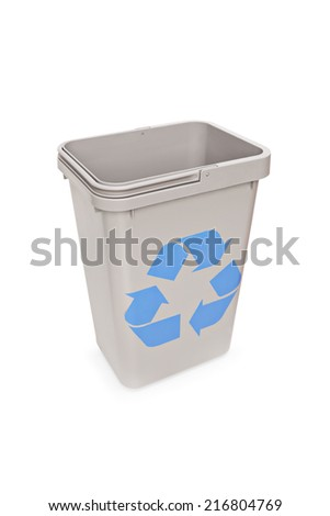 Studio shot of an empty recycle bin isolated on white background