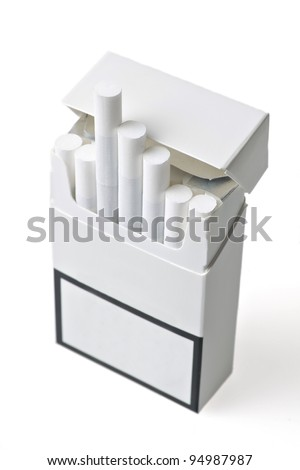 Studio shot of an opened pack of cigarettes - stock photo