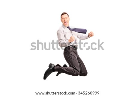 Studio shot of an overjoyed businessman jumping and gesturing happiness shot in mid-air isolated on white background - stock photo