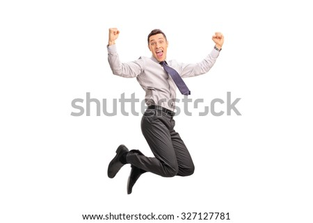 Studio shot of an overjoyed businessman shot in mid-air while jumping out of joy isolated on white background - stock photo