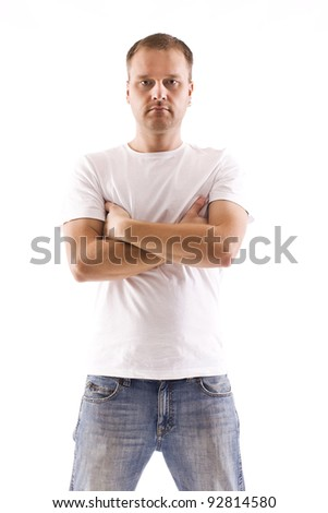 studio shot of annoyed man - stock photo