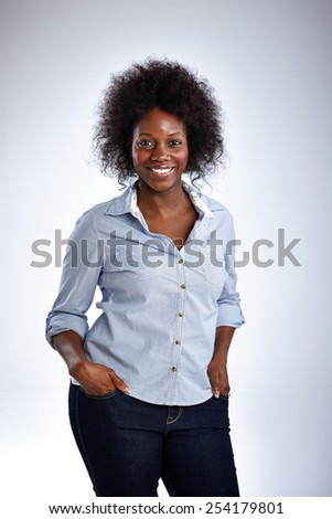 Studio shot of attractive businesswoman posing on white background - stock photo