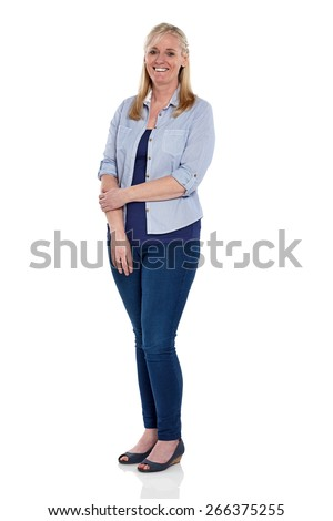 Studio shot of attractive mature woman standing on white background - stock photo