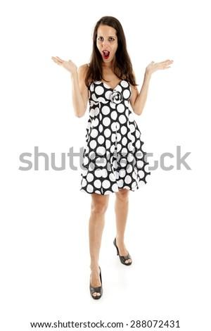 Studio Shot of Beautiful brunette woman  - stock photo