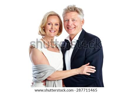 Studio shot of beautiful mature couple together on white background - stock photo