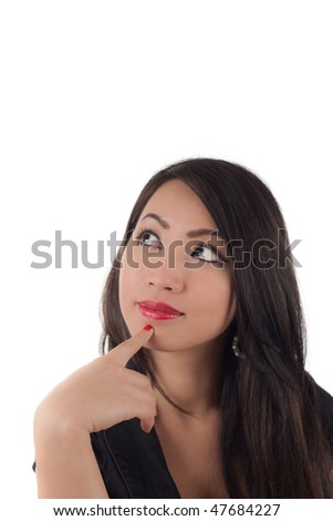Studio shot of beautiful sexy young asian woman looking up wondering, isolated on white - stock photo