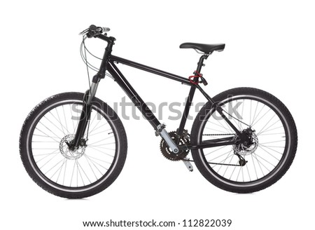 Studio shot of black mountain bike isolated on white