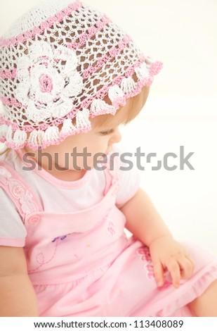 studio  shot of blond little baby girl - stock photo