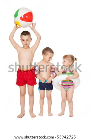 studio shot of children in swimsuits - stock photo