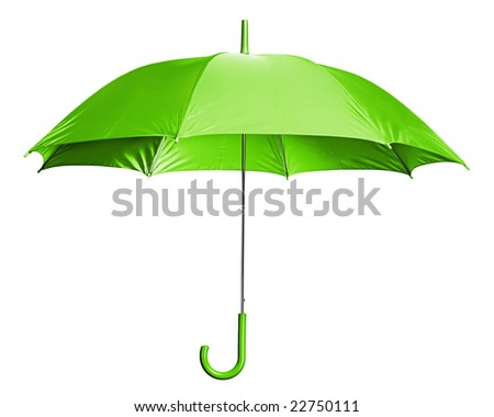 Studio Shot of Classic Green Umbrella Isolated on White - stock photo