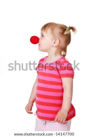 studio shot of clown girl - stock photo
