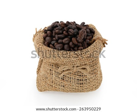 Studio Shot of Coffee Beans in a Bag isolated on white background - stock photo