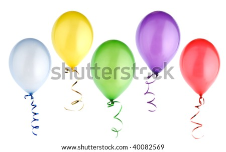 studio shot of colorful balloons isolated on white background - stock photo