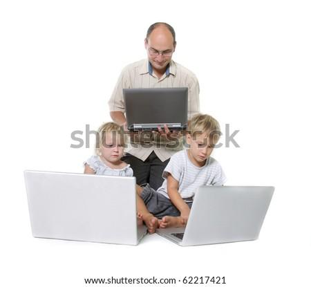 studio shot of computer family - stock photo