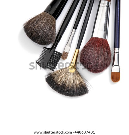 Studio shot of cosmetic brushes set. High Angle view.
