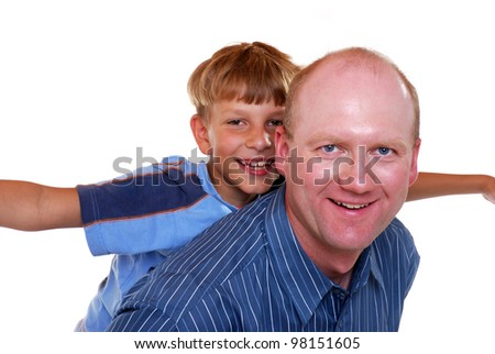 studio shot of father and son - stock photo