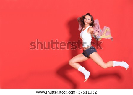 studio shot of female body in ballet pose - stock photo