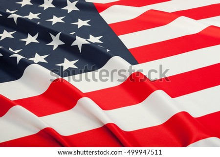 Studio shot of flag blowing in the wind. Part of ruffled flag series - USA