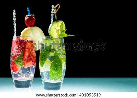 Studio shot of fresh mojito drinks  - stock photo