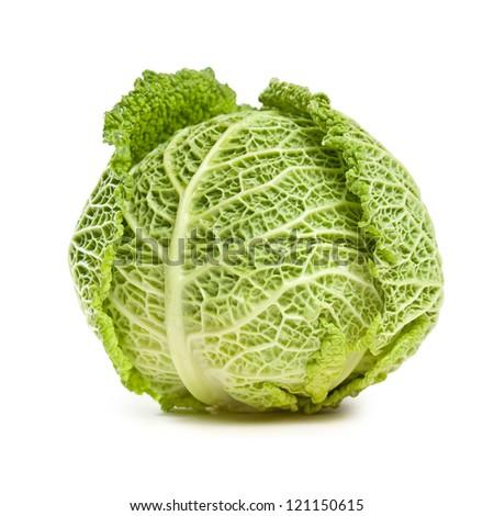 Studio shot of fresh ripe  cabbage isolated on white background. - stock photo
