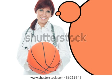 Studio shot of friendly caucasian female doctor with basketball, isolated over a white background, copyspace - stock photo