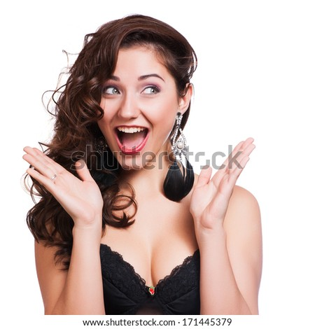 Studio Shot of Funny Surprised Woman - stock photo