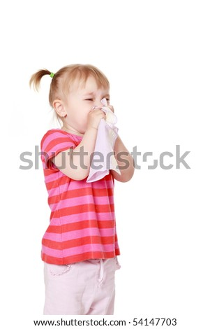 studio shot of  girl is blowing her nose - stock photo