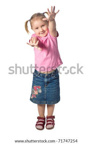 studio shot of girl waving - stock photo