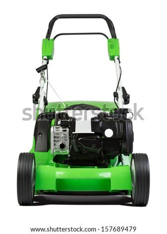 Studio shot of green lawnmower - stock photo