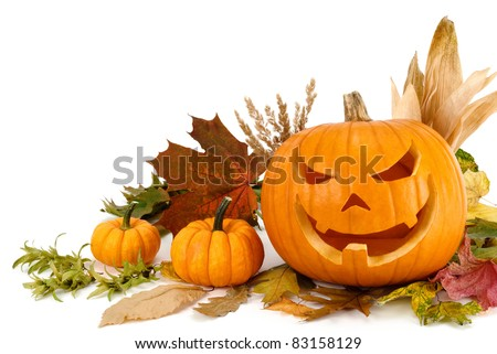 Studio shot of Halloween pumpkins and autumn leaves arranged on white background - stock photo