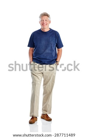 Studio shot of handsome mature man standing with his hands in pocket on white background