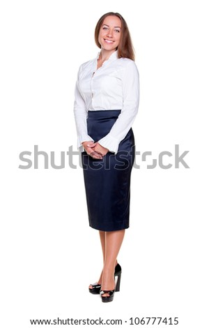 studio shot of happy businesswoman over white background - stock photo
