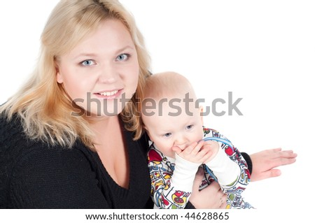 Studio shot of happy family - mother and son
