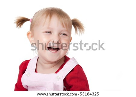 studio shot of happy little girl - stock photo