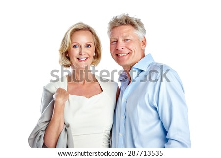 Studio shot of happy mature caucasian couple together on white background - stock photo