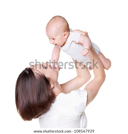 studio shot of happy mother with her baby. isolated on white background - stock photo
