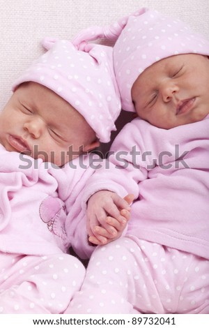 Newborn Black Baby Twins Studio shot of identical .