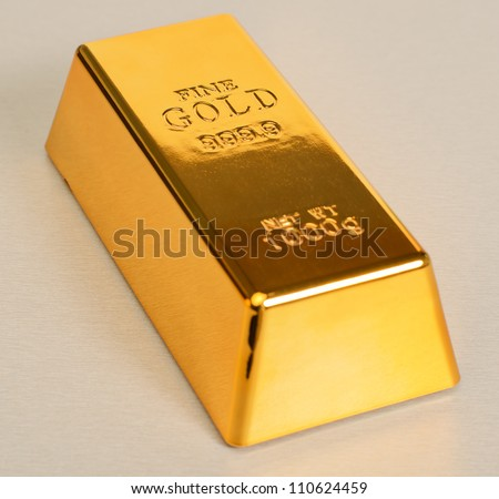 Studio Shot Of 1kg Gold Bar Isolated On��� Texture - stock photo