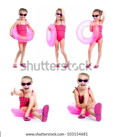 studio shot of little girl in swimsuits - stock photo