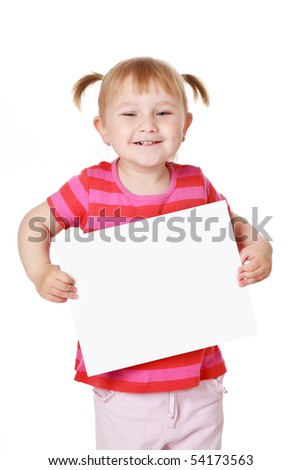 studio shot of little girl with white board