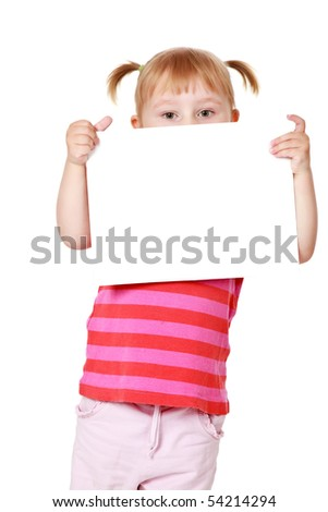 studio shot of little girl with white board - stock photo