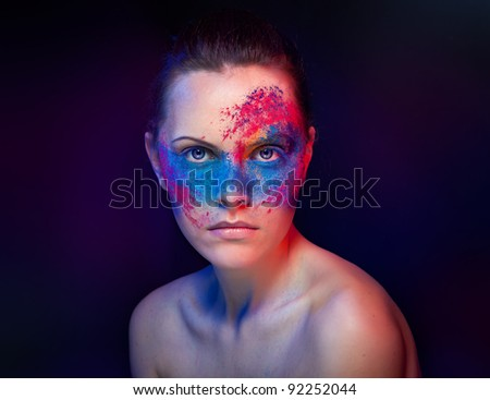studio shot of make-uped girl - stock photo