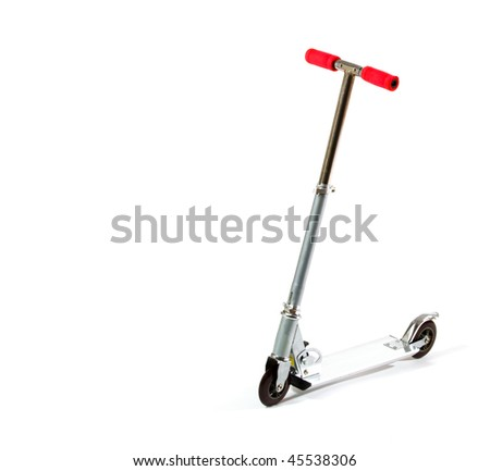 Studio shot of metal toy scooter, isolated on white. - stock photo