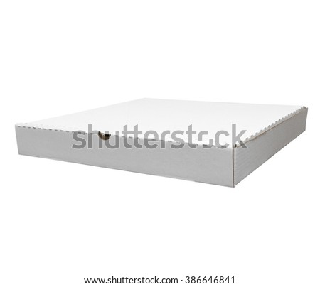 Studio shot of pizza box. White box isolated on white with clipping path - stock photo