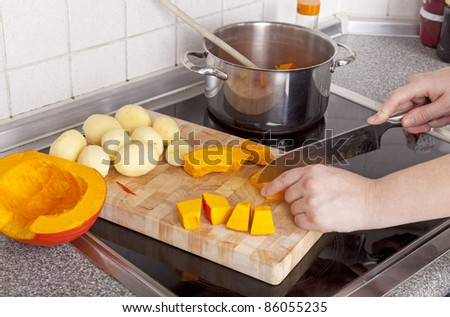 studio-shot of preparing lunch for the family. cooking hokkaido pumpkin soup in a modern kitchen. - stock photo